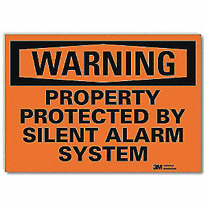 Security Sign,Silent Alarm System,10in W