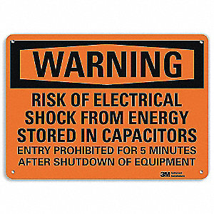 Warning Sign,Electrical Shock Risk,7in H