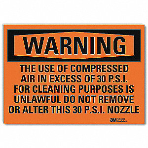 Warning Sign,Use of Compressed Air,5in H