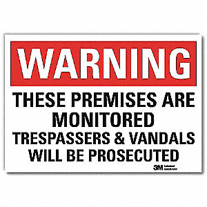 "Security and Surveillance, Warning, Vinyl, 10"" x 14"", Adhesive Surface, Engineer"