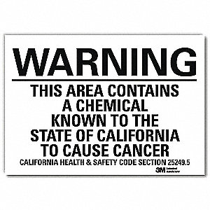 Warning Sign,Black/White,Text,5 in. H