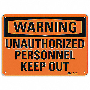 "Authorized Personnel and Restricted Access, Warning, Aluminum, 7"" x 10"", Surface, Engineer"