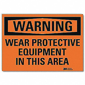 Warning Sign,Protective Equipment,14in W