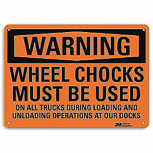 "Chock Wheels, Warning, Recycled Aluminum, 7"" x 10"", With Mounting Holes, Engineer"