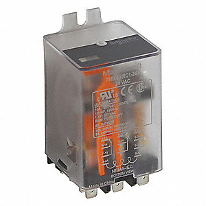 24VDC, 11-Pin Flange Mount Relay; Flange Location: Side, AC Contact Rating: 10A @ 277V