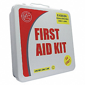 First Aid Kit, Kit, Metal Case Material, General Purpose, 24 People Served Per Kit