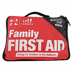 First Aid Kit, Kit, Nylon Case Material, Outdoors, 4 People Served Per Kit