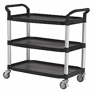 Polypropylene, Fiber Glass Raised Handle Utility Cart, 400 lb. Load Capacity, Number of Shelves: 3