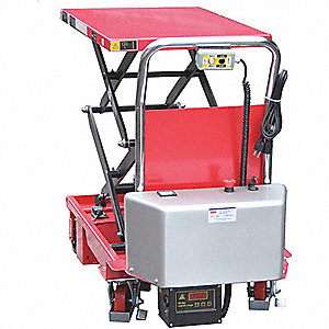 "Mobile Scissor Lift Table,  660 lb. Load Capacity,  63"" Lifting Height Max.,  Electric Lift"