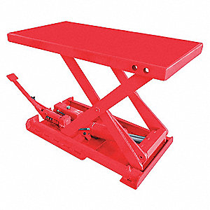 Stationary Manual Lift Scissor Lift Table, 550 lb. Load Capacity, Lifting Height Max. 28""