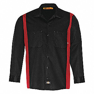 Work Shirt,Long Sleeve,Black Red,MT
