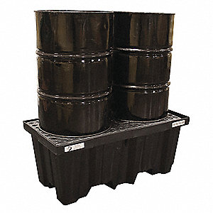 Spill Containment Pallets, Uncovered, 66 gal. Spill Capacity, 1000 lb.