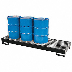 Spill Containment Pallets, Uncovered, 66 gal. Spill Capacity, 2400 lb.