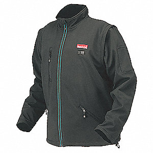 Men's Black Heated Jacket, Size: XL, Battery Included: No