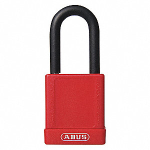 Red Lockout Padlock, Alike Key Type, Aluminum Body Material, 1 EA