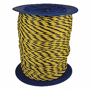 "5/16"" dia. Polypropylene All Purpose General Utility Rope, Black/Yellow, 1200 ft."