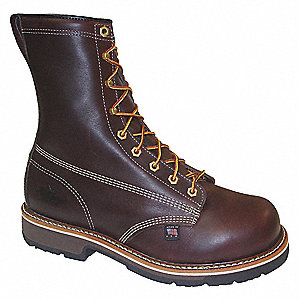 "8""H Men's Work Boots, Composite Toe Type, Leather Upper Material, Brown, Size 9EEEE"