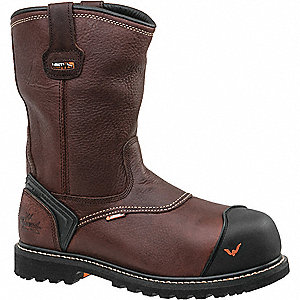 "10""H Men's Work Boots, Composite Toe Type, Leather Upper Material, Brown, Size 8W"
