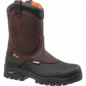 "8""H Men's Work Boots, Composite Toe Type, Leather Upper Material, Brown/Black, Size 15W"