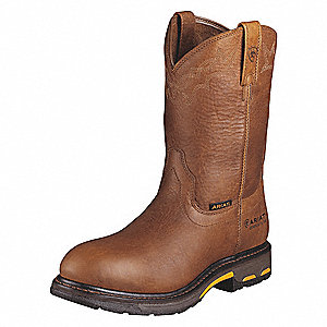 "11""H Men's Work Boots, Composite Toe Type, Leather Upper Material, Bright Brown, Size 13EE"