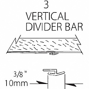 "Rigid Vinyl Sheet Divider Bar, Sonora, Plastic, 96"" Length, 3/8"" Height, 1/16"" Thickness"
