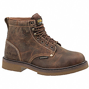 "6""H Men's Work Boots, Steel Toe Type, Leather Upper Material, Brown, Size 9-1/2EE"