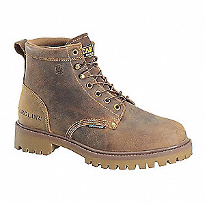 "6"" Work Boot,  10,  D,  Men's,  Brown,  Steel Toe Type,  1 PR"