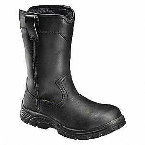 "10""H Men's Work Boots, Composite Toe Type, Leather Upper Material, Black, Size 9W"