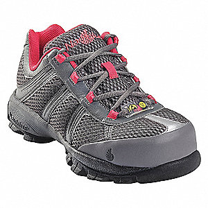 "4""H Women's Athletic Style Work Shoes, Steel Toe Type, Nylon/Action Leather Upper Material, Gray/Pin"