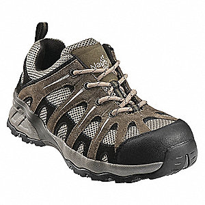 "4""H Men's Athletic Style Work Shoes, Composite Toe Type, Sueded Leather /Mesh Upper Material, Khaki/"