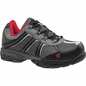 "4""H Men's Athletic Style Work Shoes, Steel Toe Type, Nylon/Action Leather Upper Material, Gray/Red,"