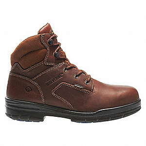 "6""H Men's Work Boots, Composite Toe Type, Leather Upper Material, Brown, Size 9M"