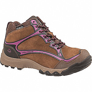 "5""H Women's Work Boots, Steel Toe Type, Leather Upper Material, Brown, Size 5M"