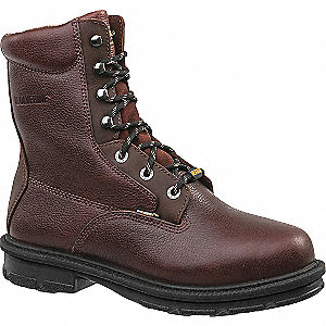"8""H Men's Work Boots, Steel Toe Type, Leather Upper Material, Brown, Size 9-1/2D"