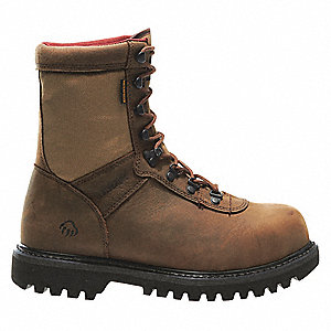 "8""H Men's Work Boots, Composite Toe Type, Leather Upper Material, Brown, Size 8-1/2EW"