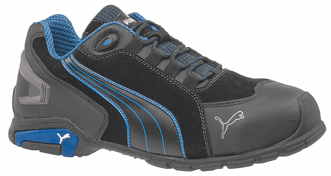 Athletic Shoe,  11,  EE,  Men's,  Black/Blue,  Aluminum Toe Type,  1 PR