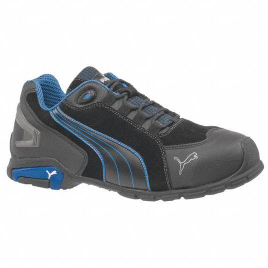 Athletic Shoe, 7, EE, Men's, Black/Blue, Aluminum Toe Type, 1 PR