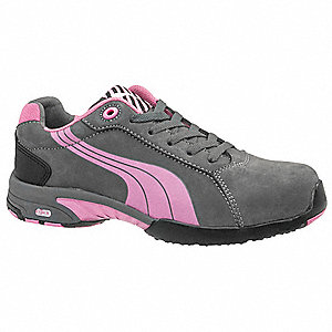 Women's Athletic Style Work Shoes, Steel Toe Type, Gray/Pink, Size 6C