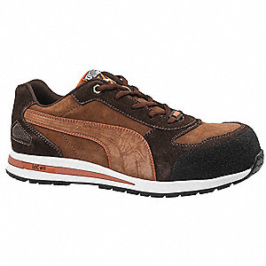 Men's Athletic Style Work Shoes, Composite Toe Type, Brown, Size 7EE