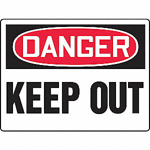 "Keep Clear, Danger, Plastic, 24"" x 36"", With Mounting Holes, Not Retroreflective"
