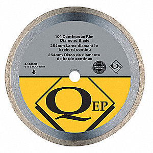 "10"" Wet/Dry Diamond Saw Blade, Continuous Rim Type"