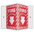 "Fire Equipment, No Header, Plastic, 12"" x 14"", With Mounting Holes, V-Shaped, Not Retroreflective"