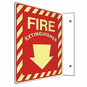 "Fire Equipment, No Header, Plastic, 12"" x 9"", With Mounting Holes, L-Shaped, Not Retroreflective"