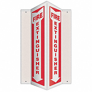 "Fire Equipment, No Header, Plastic, 24"" x 7-1/2"", With Mounting Holes, V-Shaped, Not Retroreflective"