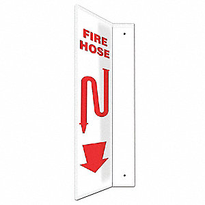 "Fire Equipment, No Header, Plastic, 24"" x 4"", With Mounting Holes, L-Shaped, Not Retroreflective"