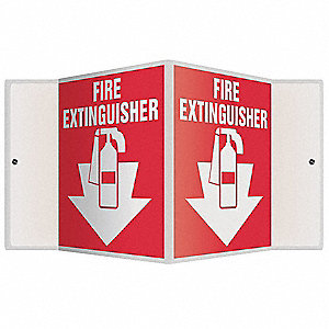 "Fire Equipment, No Header, Plastic, 6"" x 8-1/2"", With Mounting Holes, V-Shaped, Not Retroreflective"