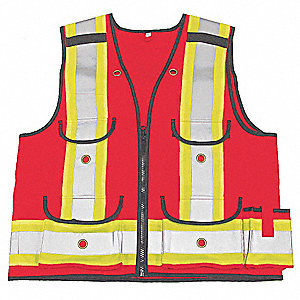 Orange/Red with Silver Stripe Surveyors Vest, ANSI 1, Zipper Closure, S