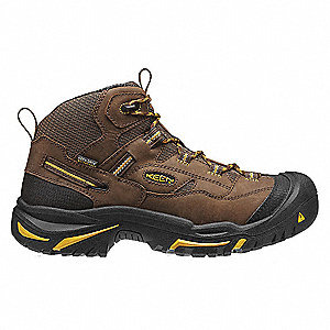 Men's Work Boots, Steel Toe Type, Leather Upper Material, Brown, Size 7-1/2EE