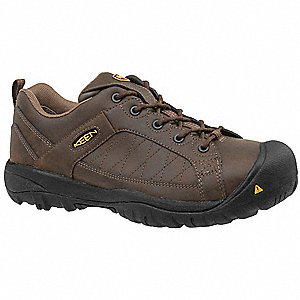 Men's Work Boots, Steel Toe Type, Leather Upper Material, Brown, Size 11D