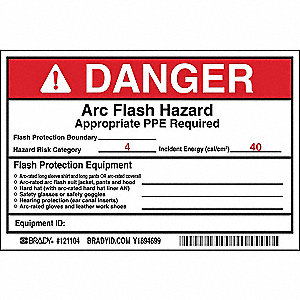 Label,Vinyl,4in.Hx6in.W,Danger,PK5